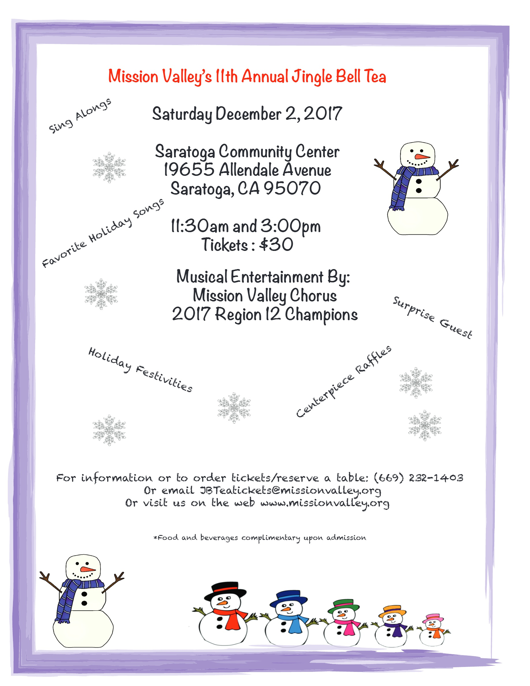 MVC Jingle Bell Tea Flyer